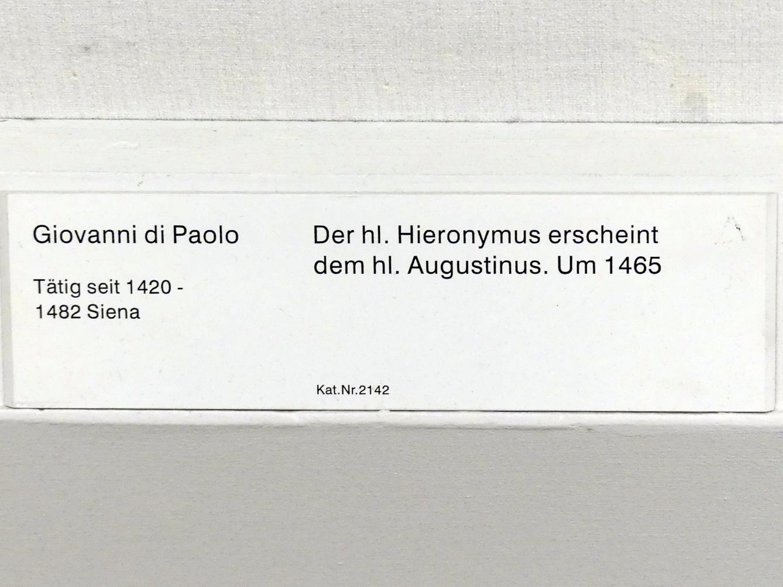 Giovanni di Paolo: Der hl. Hieronymus erscheint dem hl. Augustinus, um 1465, Bild 2/2