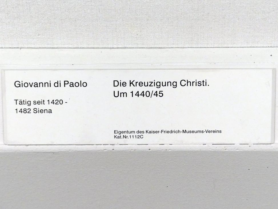 Giovanni di Paolo: Die Kreuzigung Christi, Um 1440 - 1445