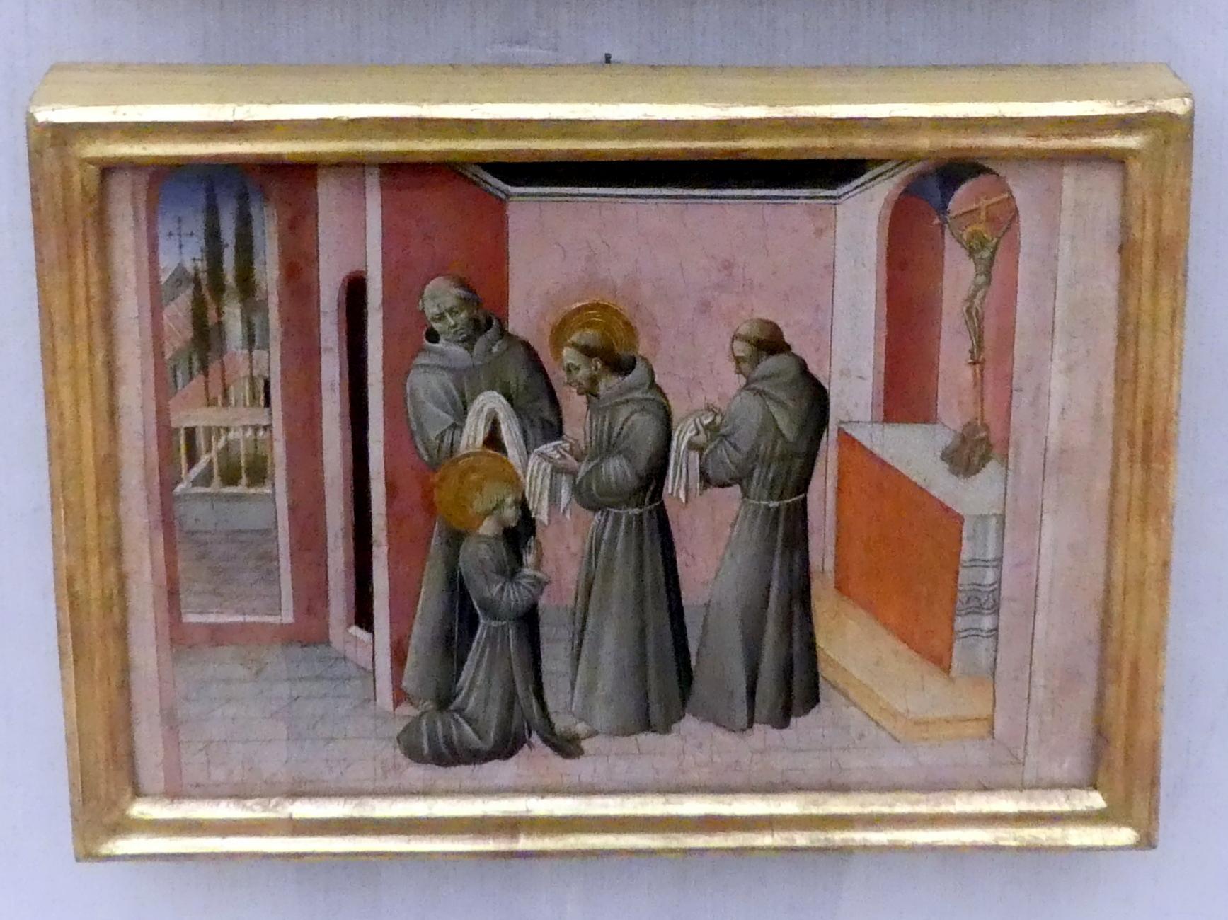 Giovanni di Paolo: Die Einkleidung der hl. Klara durch den hl. Franziskus, Um 1455