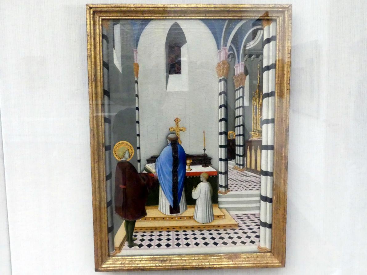Meister der Osservanza: Die Messe des hl. Antonius Abbas, um 1430 - 1435