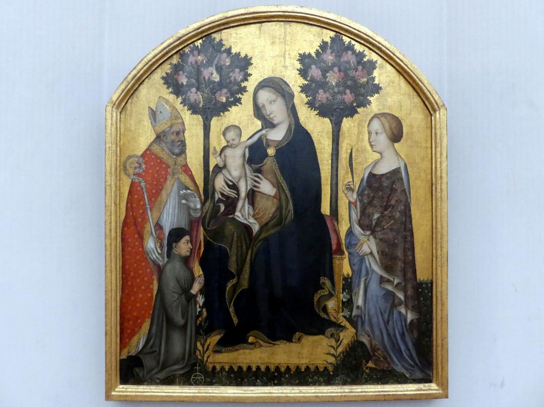 Gentile da Fabriano: Thronende Maria mit dem Kind, dem hl. Nikolaus von Bari, der hl. Katharina von Alexandrien und einem Stifter, um 1395 - 1400