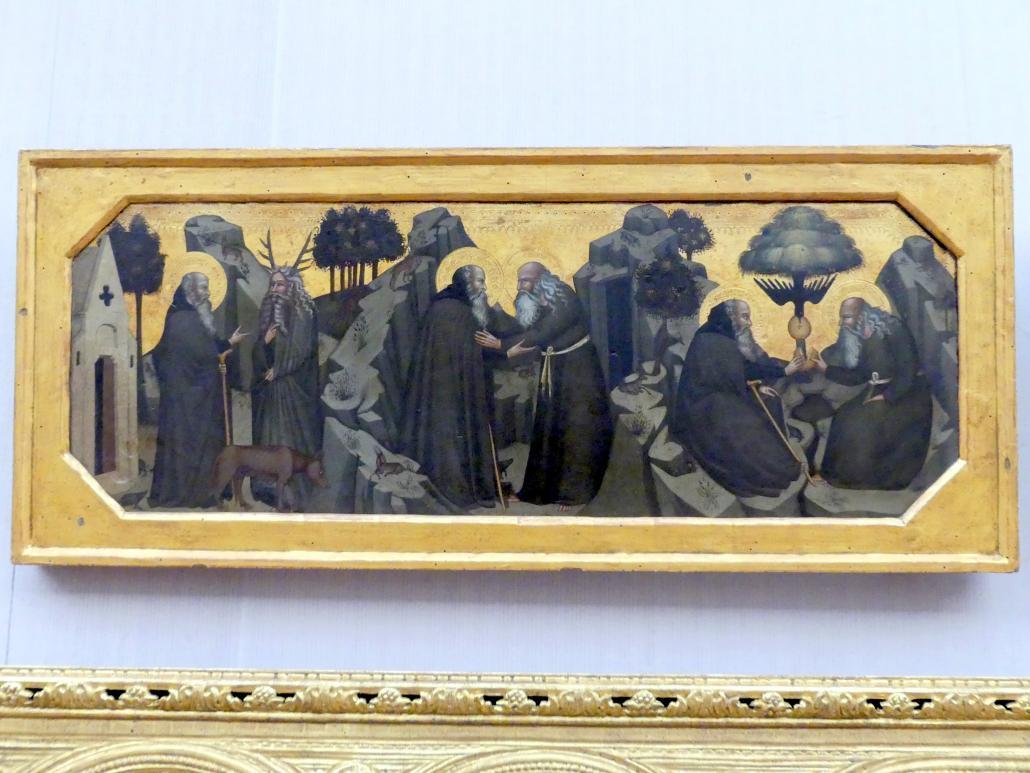 Bartolo di Fredi (Werkstatt): Sechs Szenen aus dem Leben der hll. Einsiedler Antonius und Paulus, um 1380 - 1390