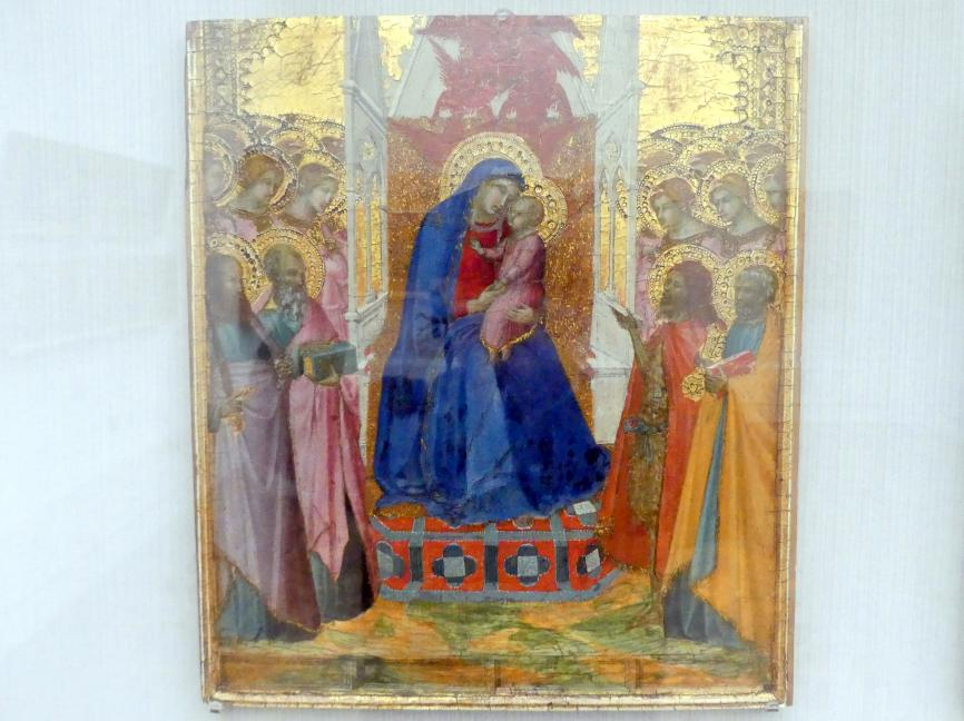 Pietro Lorenzetti: Thronende Maria mit dem Kind, anbetenden Engeln sowie den hll. Paulus, Johannes Ev. (?), Johannes d.T. und Petrus, um 1340