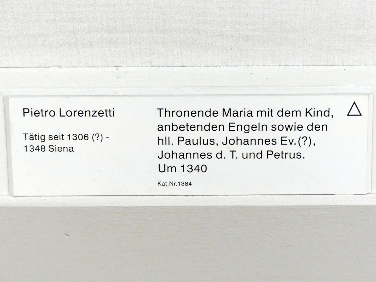 Pietro Lorenzetti: Thronende Maria mit dem Kind, anbetenden Engeln sowie den hll. Paulus, Johannes Ev. (?), Johannes d.T. und Petrus, um 1340, Bild 2/2