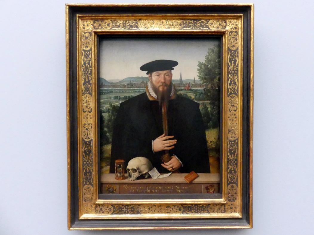 Ludger tom Ring der Jüngere: Herrmann Huddaeus (1517/18 - um 1575) vor einer Ansicht der Stadt Minden, 1568