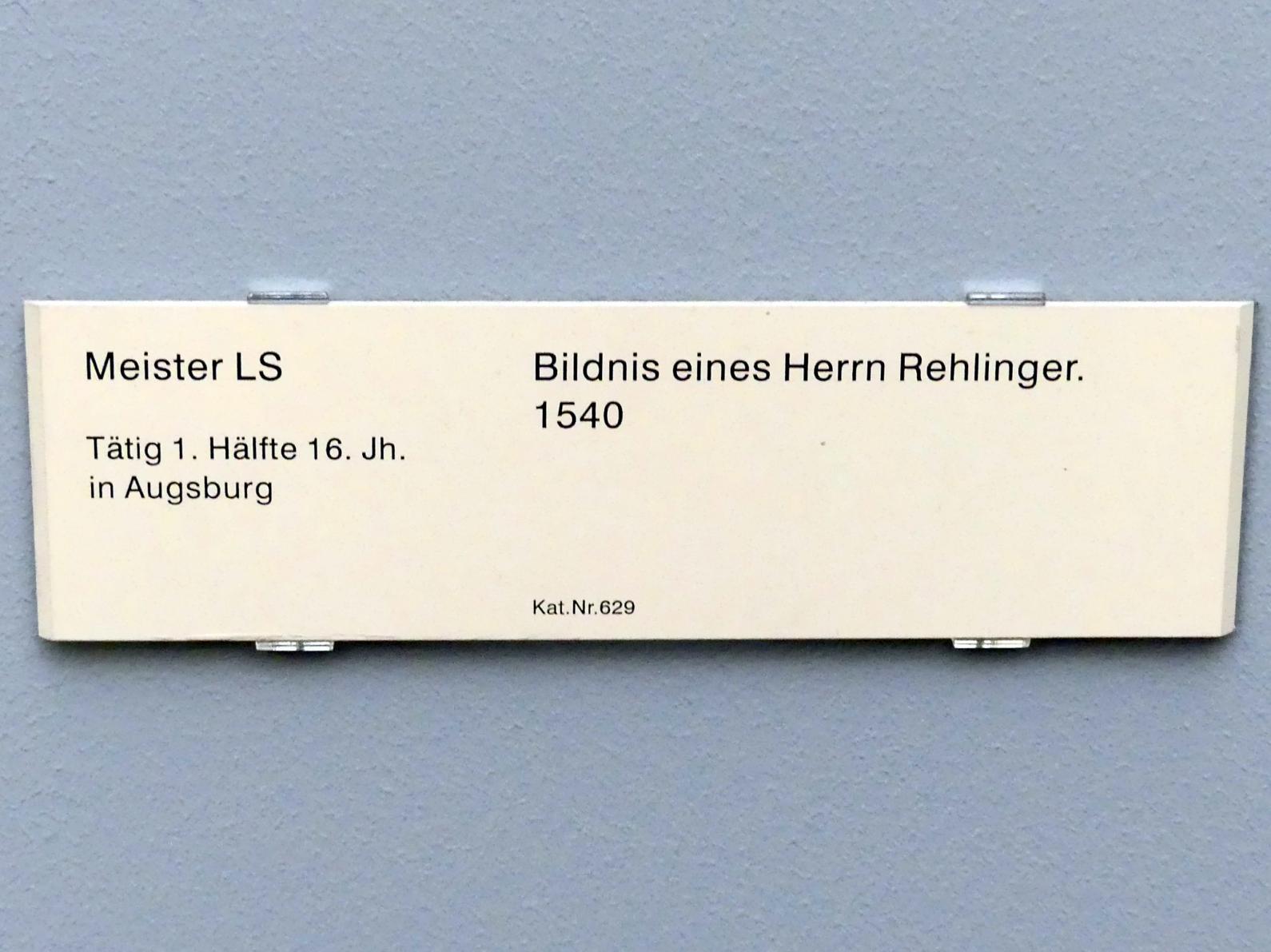 Meister LS: Bildnis eines Herrn Rehlinger, 1540, Bild 2/2