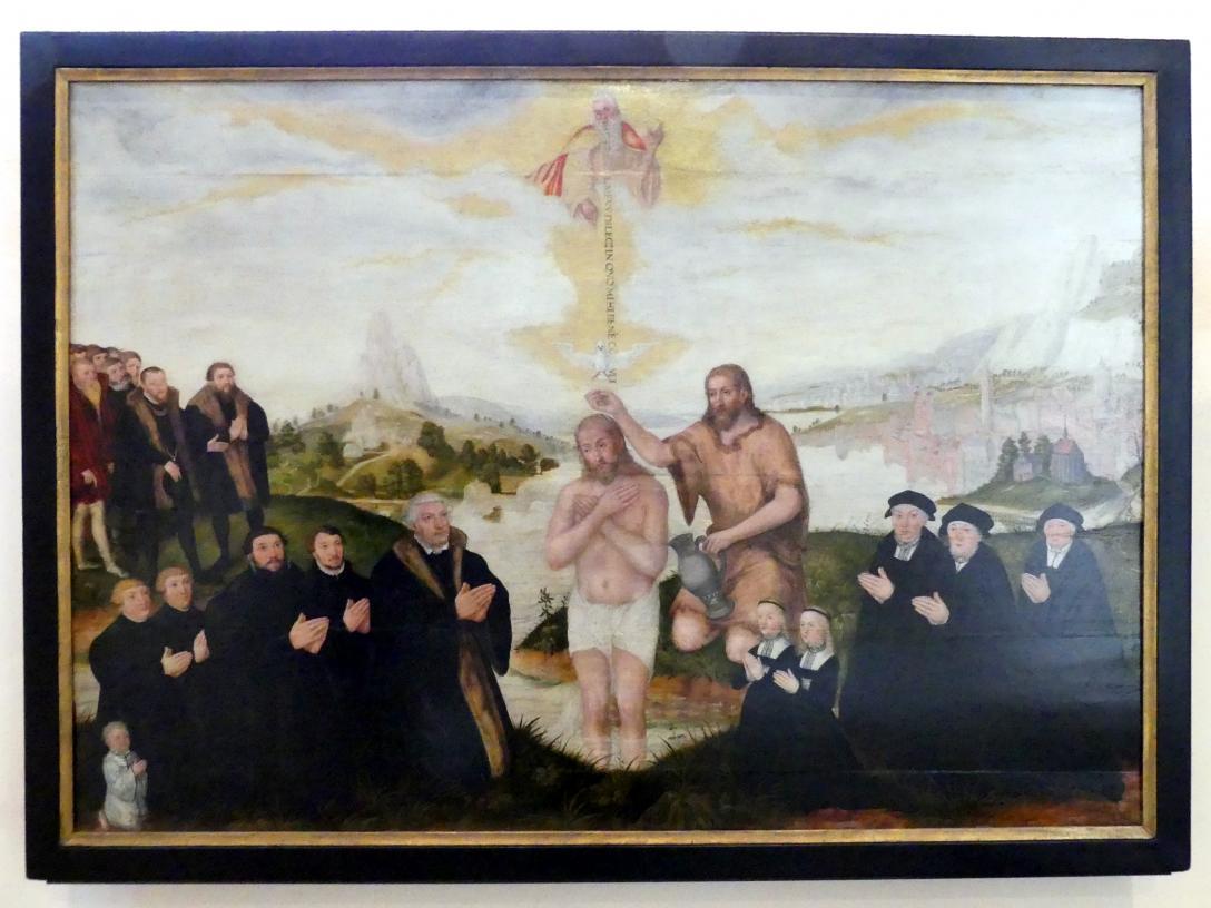 Lucas Cranach der Jüngere: Die Taufe Christi im Jordan, 1560