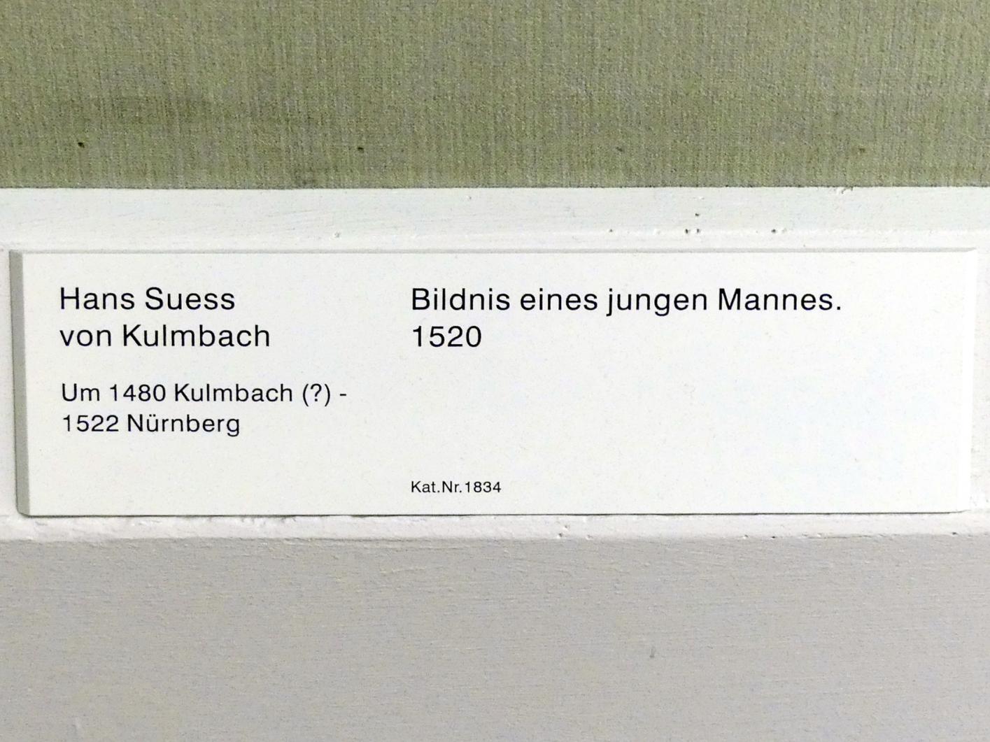 Hans Süß von Kulmbach: Bildnis eines jungen Mannes, 1520