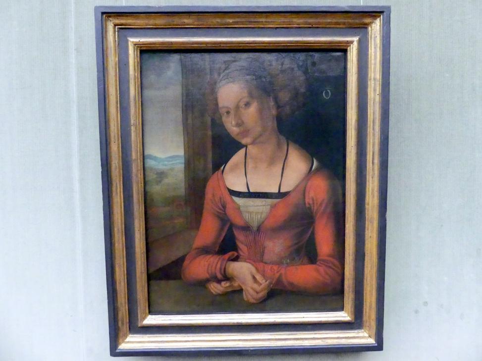 Albrecht Dürer: Bildnis einer Frau Fürleger mit geflochtenem Haar, 1497