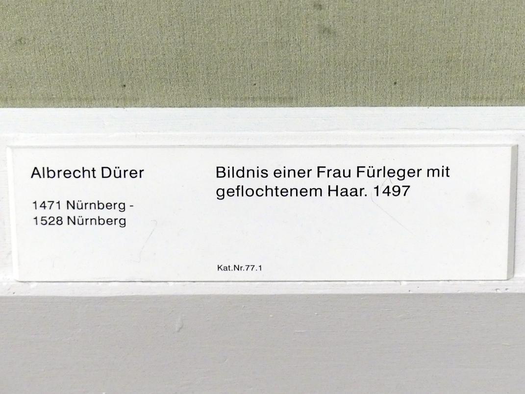 Albrecht Dürer: Bildnis einer Frau Fürleger mit geflochtenem Haar, 1497, Bild 2/2