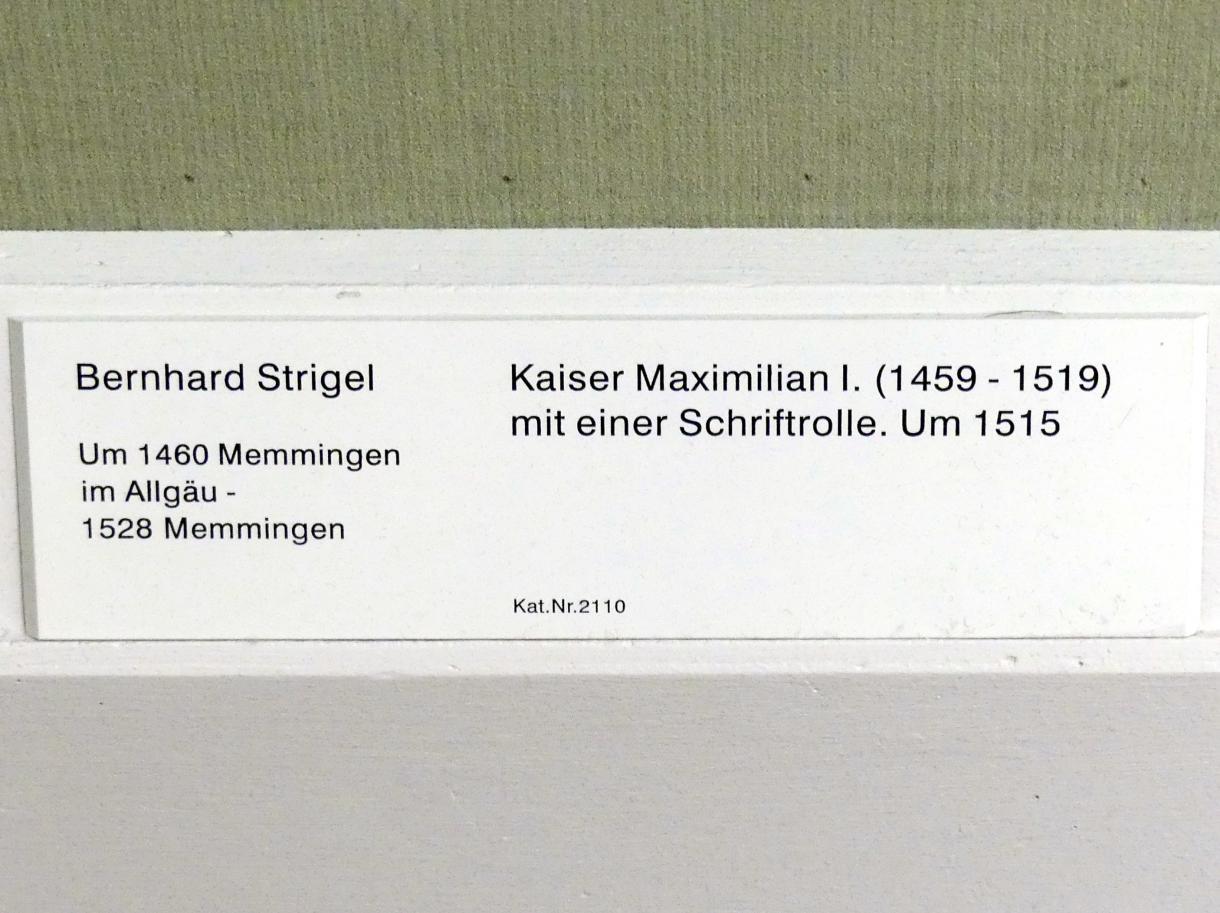 Bernhard Strigel: Kaiser Maximilian I. (1459-1519) mit einer Schriftrolle, um 1515, Bild 2/2