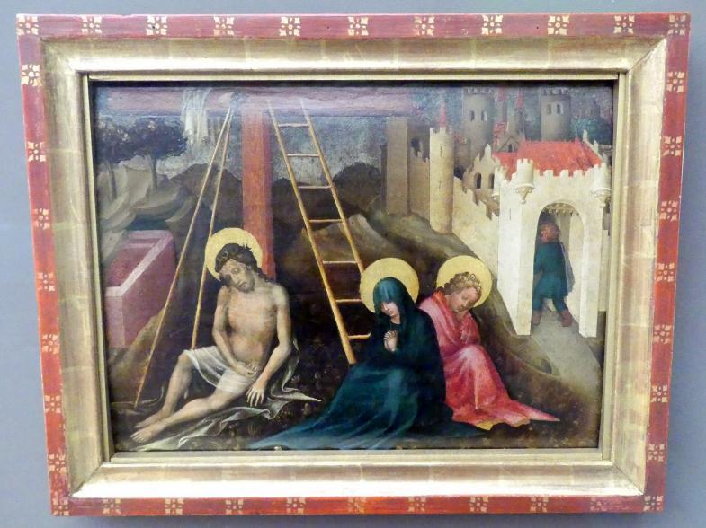 Meister der Darbringung: Christus als Schmerzensmann mit Maria und Johannes, um 1430