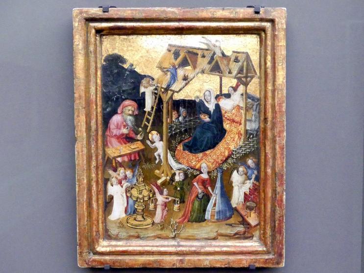 Die Heilige Familie im Stall mit Engeln, um 1400