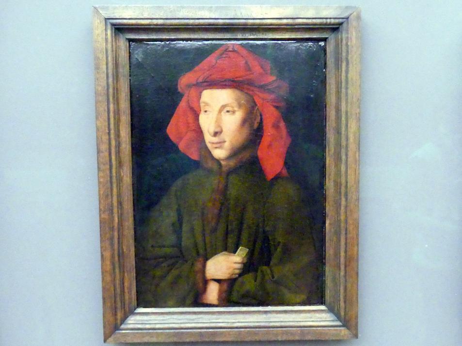 Jan van Eyck: Bildnis eines Mannes (aus der Familie Arnolfini?), um 1440