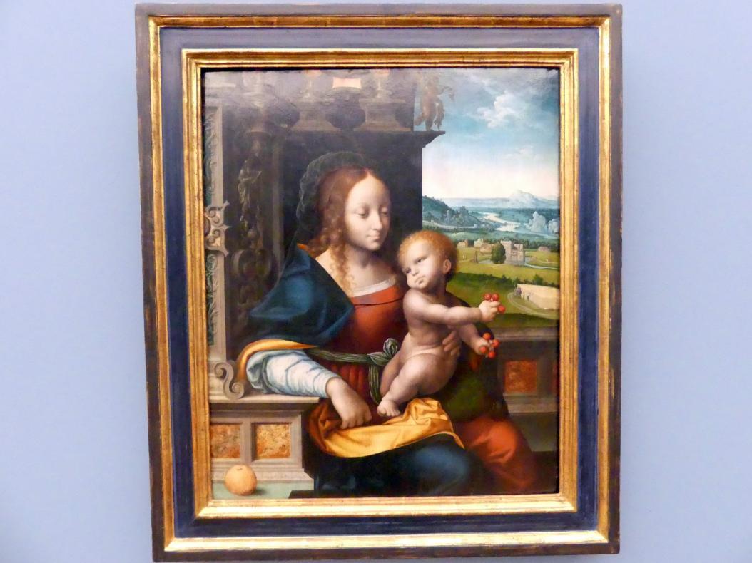 Joos van Cleve (Joos van der Beke) (Werkstatt): Maria mit dem Kind (Die Madonna mit den Kirschen), Um 1525