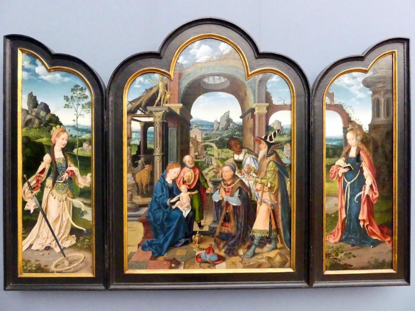 Joos van Cleve (Joos van der Beke): Triptychon mit der Anbetung der Könige, Um 1520