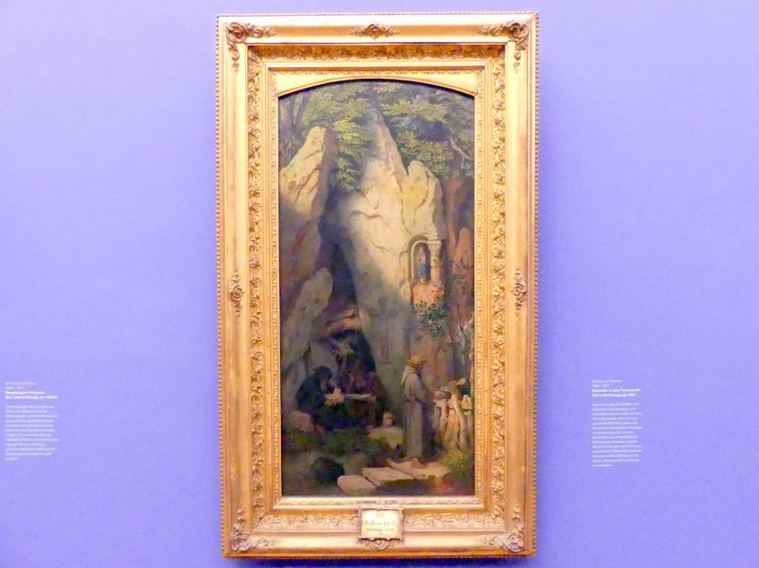 Moritz von Schwind: Einsiedler in einer Felsengrotte (Der Liebe Entsagung), 1863