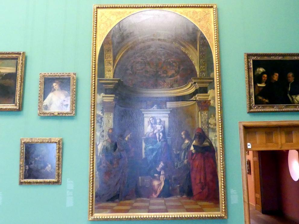 August Wolf: Thronende Madonna mit musizierenden Engeln und Heiligen, 1874