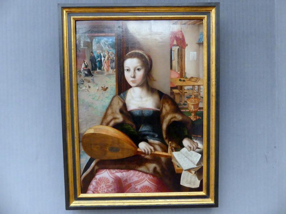 Jan Sanders van Hemessen (Werkstatt): Maria Magdalena, im Hintergrund Christus bei Martha, Undatiert