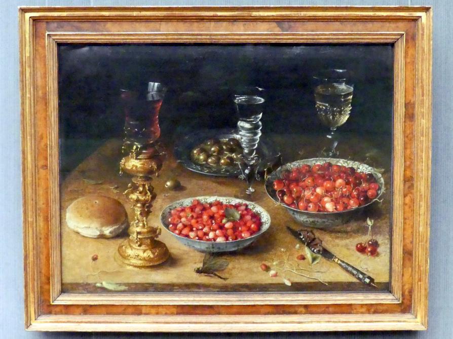 Osias Beert: Stillleben mit Kirschen und Erdbeeren in chinesischen Porzellanschüsseln, 1608