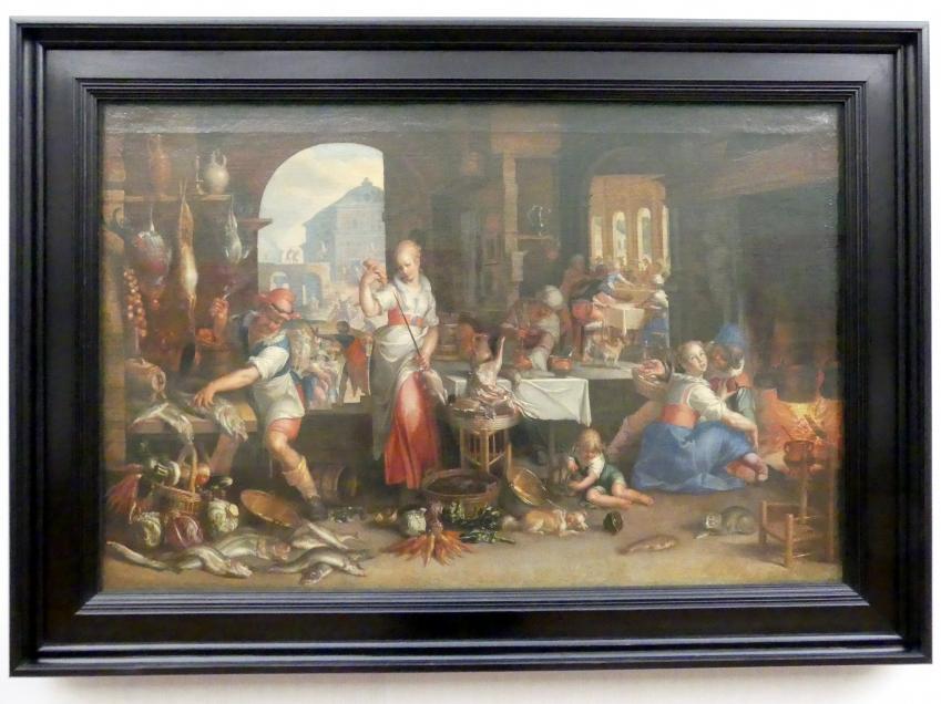Joachim Anthonisz. Wtewael: Küchenstück mit dem Gleichnis vom Großen Gastmahl, 1605
