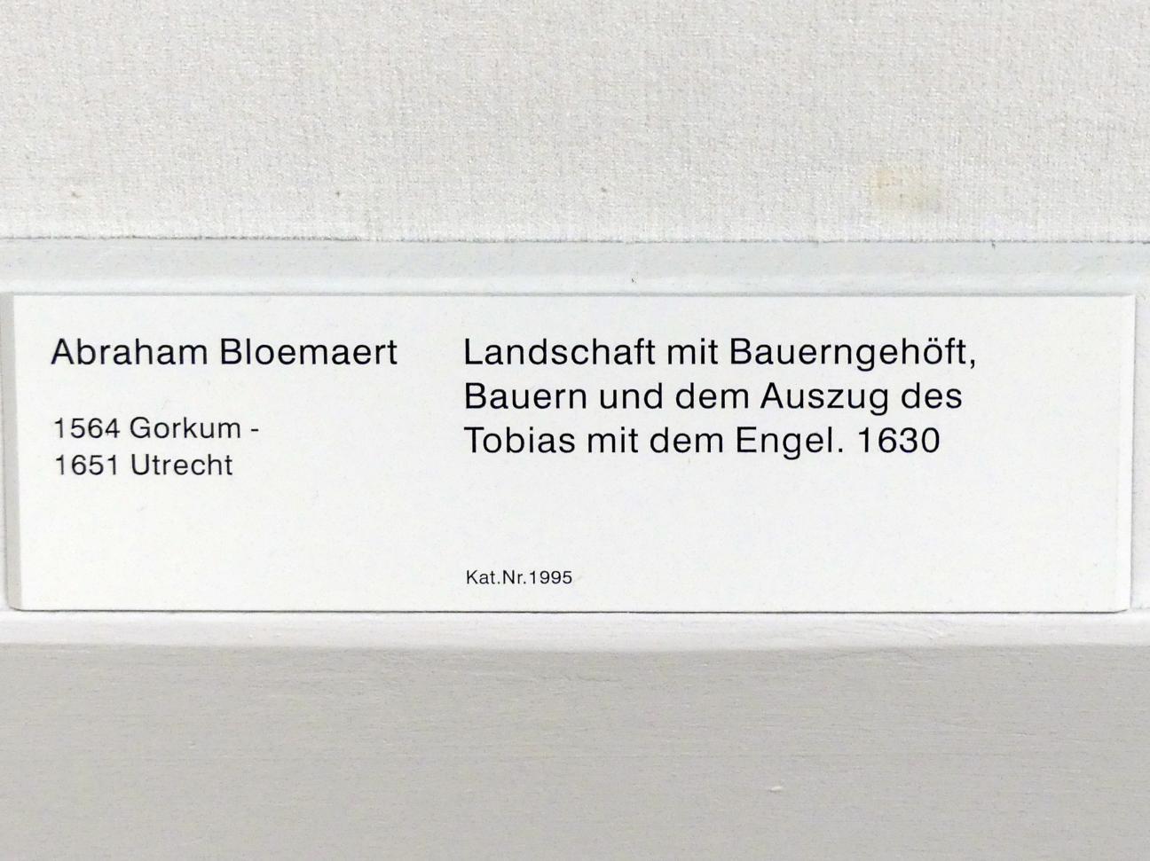 Abraham Bloemaert: Landschaft mit Bauerngehöft, Bauern und dem Auszug des Tobias mit dem Engel, 1630