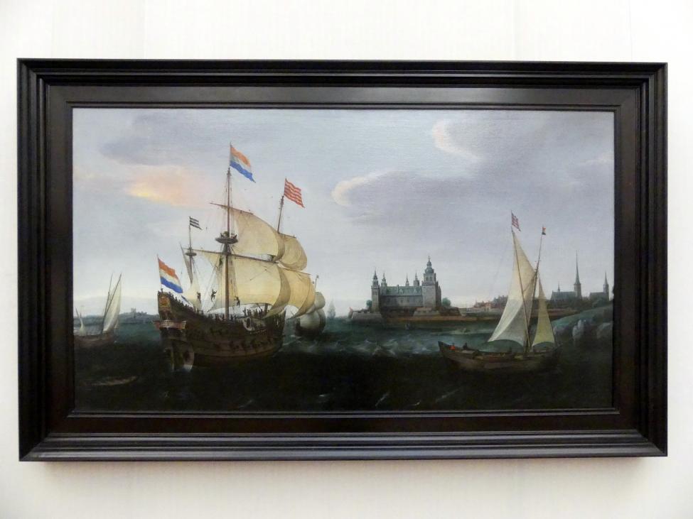 Hendrick Cornelisz. Vroom: Holländischer Dreimaster vor der Einfahrt in den Sund bei Schloß Kronborg, 1614
