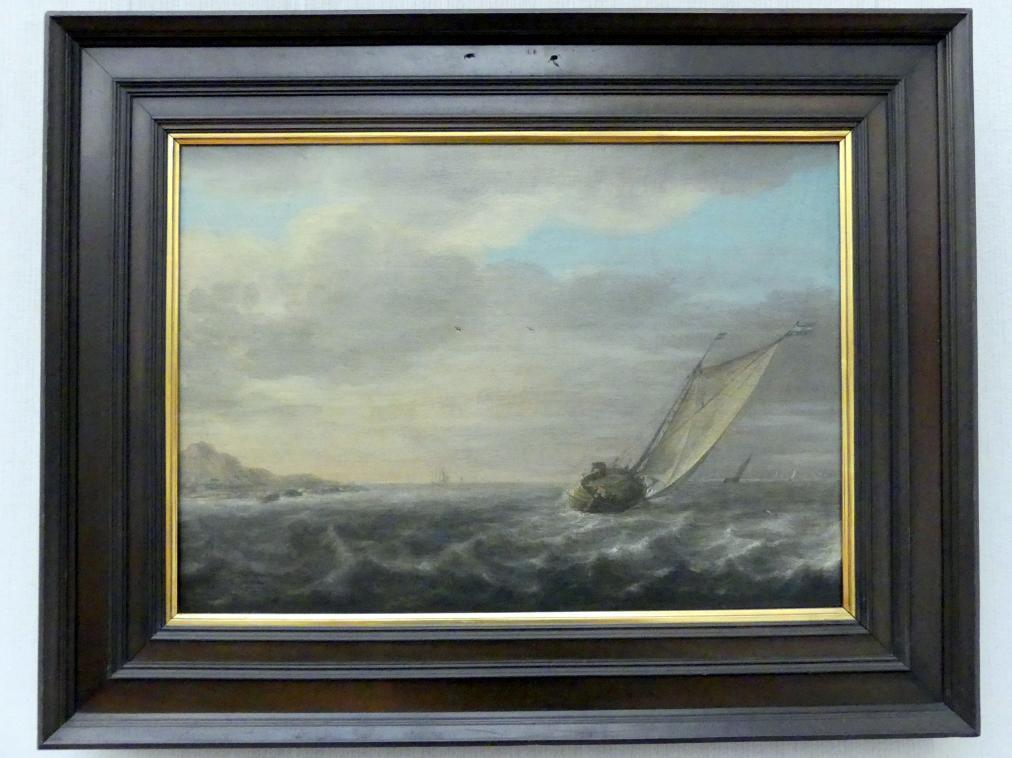 Simon de Vlieger (Umkreis): Leichtbewegte See mit einem Segelboot, um 1635