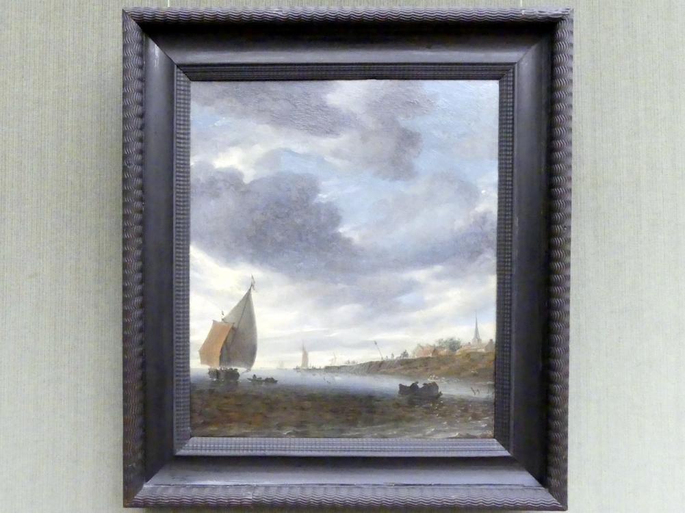 Salomon van Ruysdael: Binnengewässer mit Segelboot, Um 1660