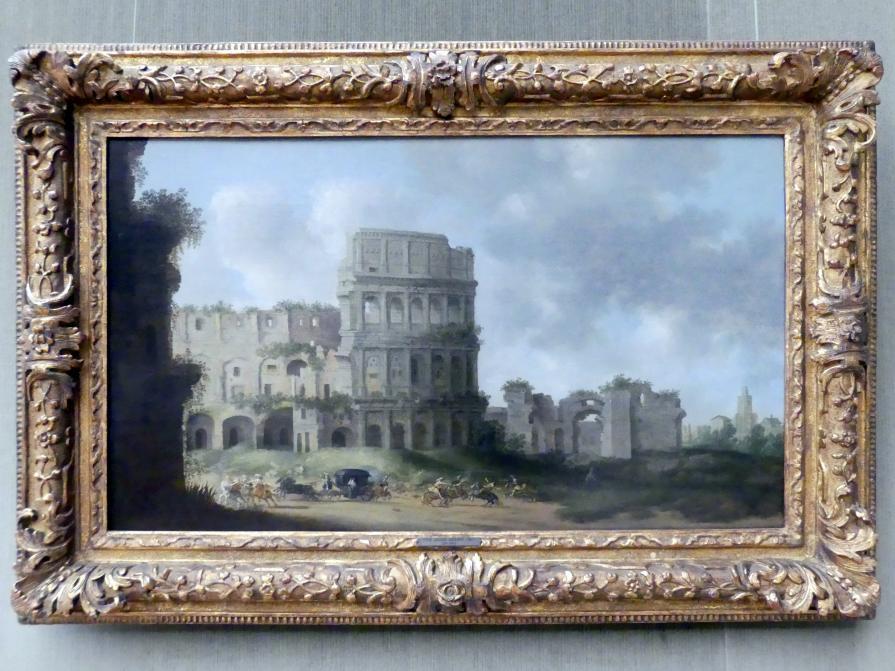 Pieter Jansz. Saenredam: Das Colosseum in Rom mit einem Überfall auf eine Kutsche, 1631