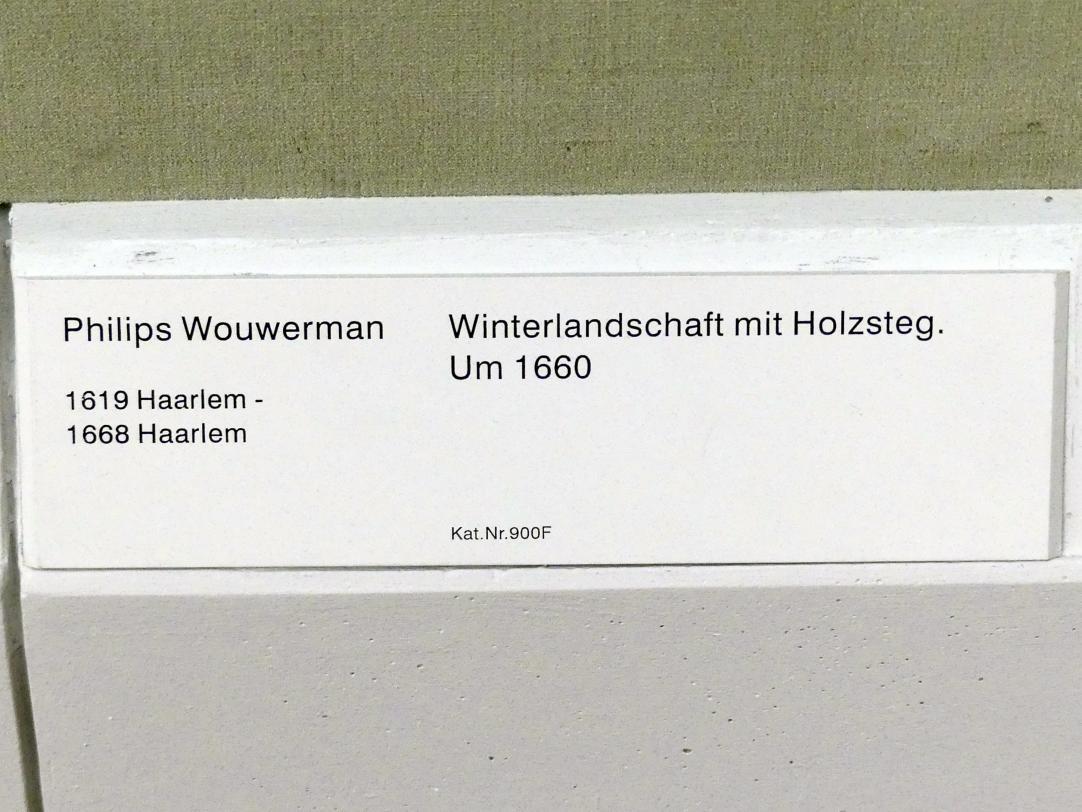 Philips Wouwerman: Winterlandschaft mit Holzsteg, um 1660, Bild 2/2