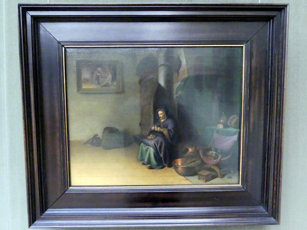 Gerard Dou (Gerrit Dou): Interieur mit Äpfel schälender Frau, um 1630