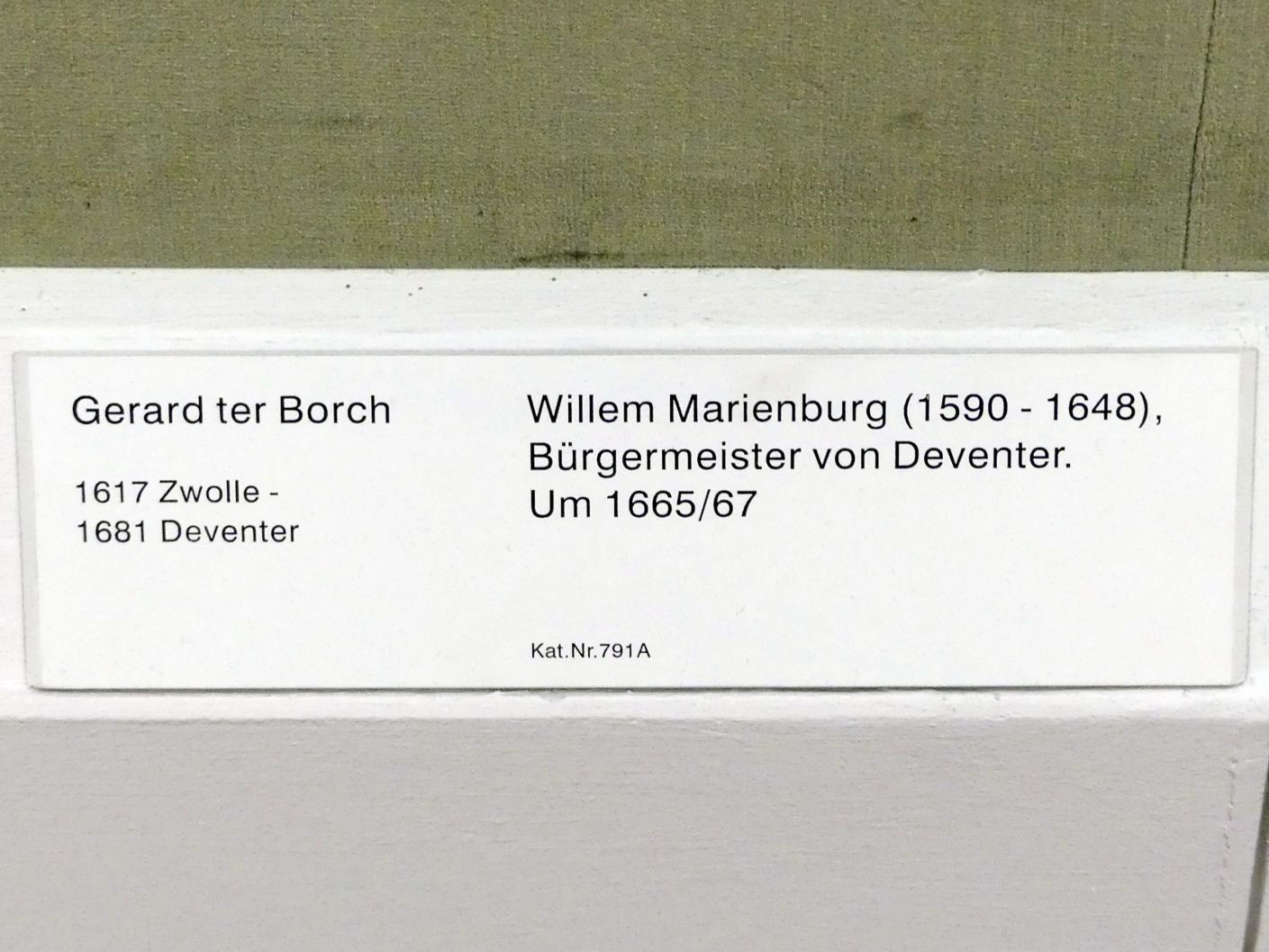 Gerard ter Borch: Willem Marienburg (1590-1648), Bürgermeister von Deventer, Um 1665 - 1667