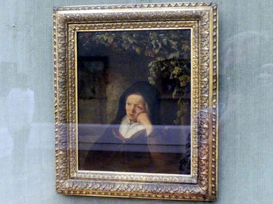 Adriaen van Ostade: Alte Frau vor einer Hausmauer unter Weinranken, Undatiert