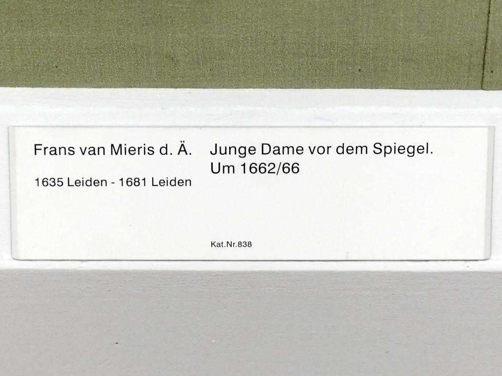 Frans van Mieris der Ältere: Junge Dame vor dem Spiegel, um 1662 - 1666, Bild 2/2