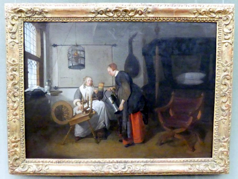 Quiringh Gerritsz van Brekelenkam: Junge Frau am Spinnrad, 1667