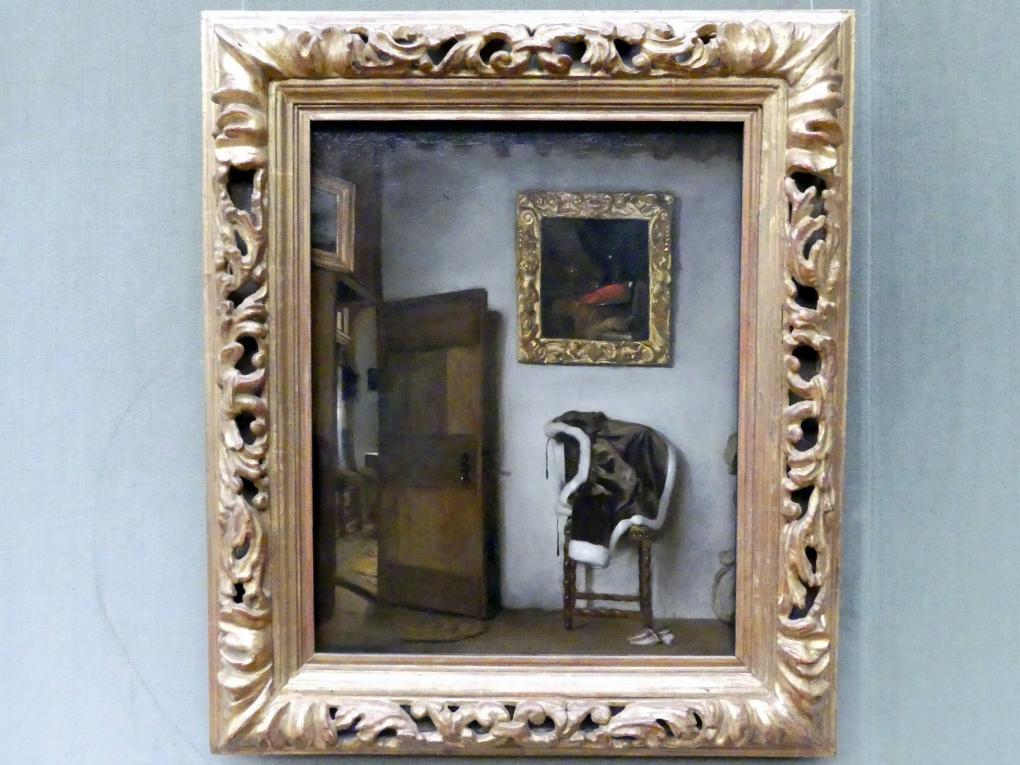 Cornelis Bisschop: Interieur mit Jacke auf einem Stuhl, Undatiert