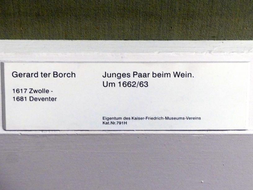 Gerard ter Borch: Junges Paar beim Wein, Um 1662 - 1663