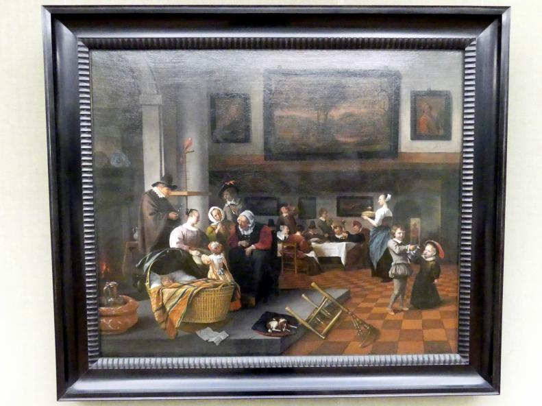 Jan Havickszoon Steen: So de Oude songen, so pypen de jongen (Die Kindtaufe), um 1663