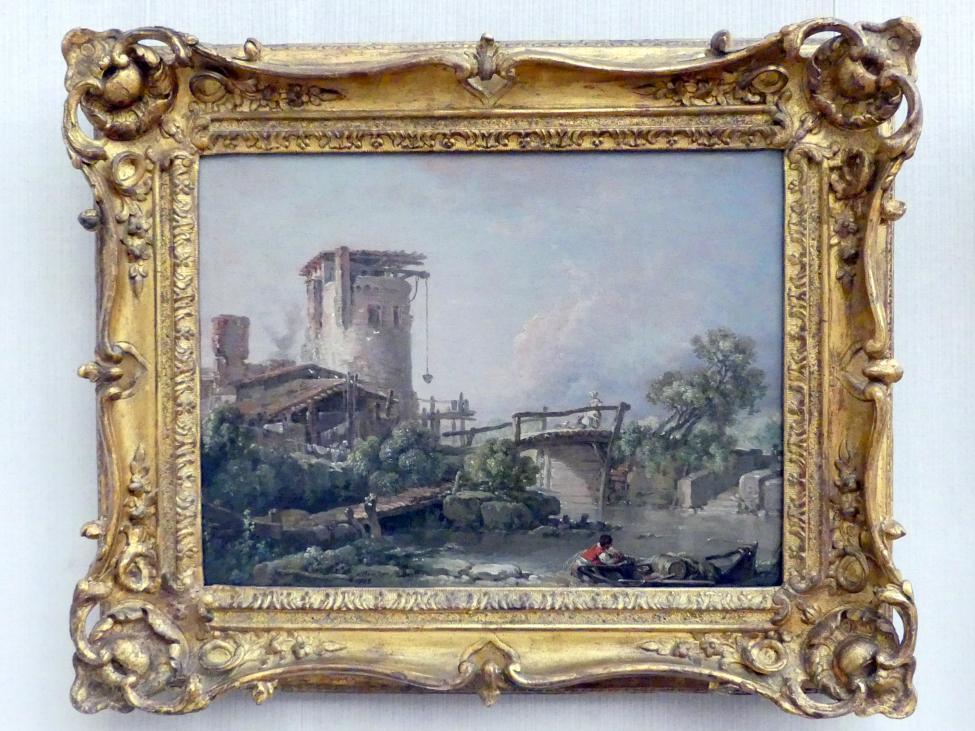 François Boucher: Landschaft mit Turm und Brücke, 1758