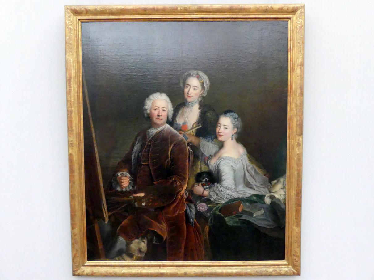 Antoine Pesne: Selbstbildnis mit den Töchtern Henriette Joyard und Marie de Rège vor der Staffelei, 1754