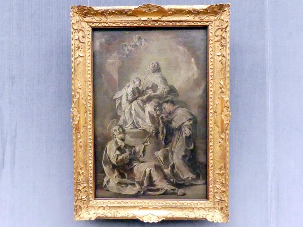 Giovanni Battista Pittoni: Die hl. Anna, begleitet von den hll. Petrus und Antonius von Padua, unterweist die jugendliche Maria im Lesen der Heiligen Schrift, 1748