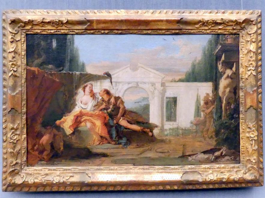Giovanni Battista Tiepolo: Rinaldo und Armida im Zaubergarten Armidas, von Carlo und Ubaldo belauscht, Undatiert