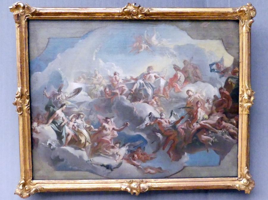 Carlo Innocenzo Carlone: Der Aufbruch der Göttinnen Juno, Venus und Minerva, geleitet von Merkur, zum Parisurteil, um 1727 - 1730