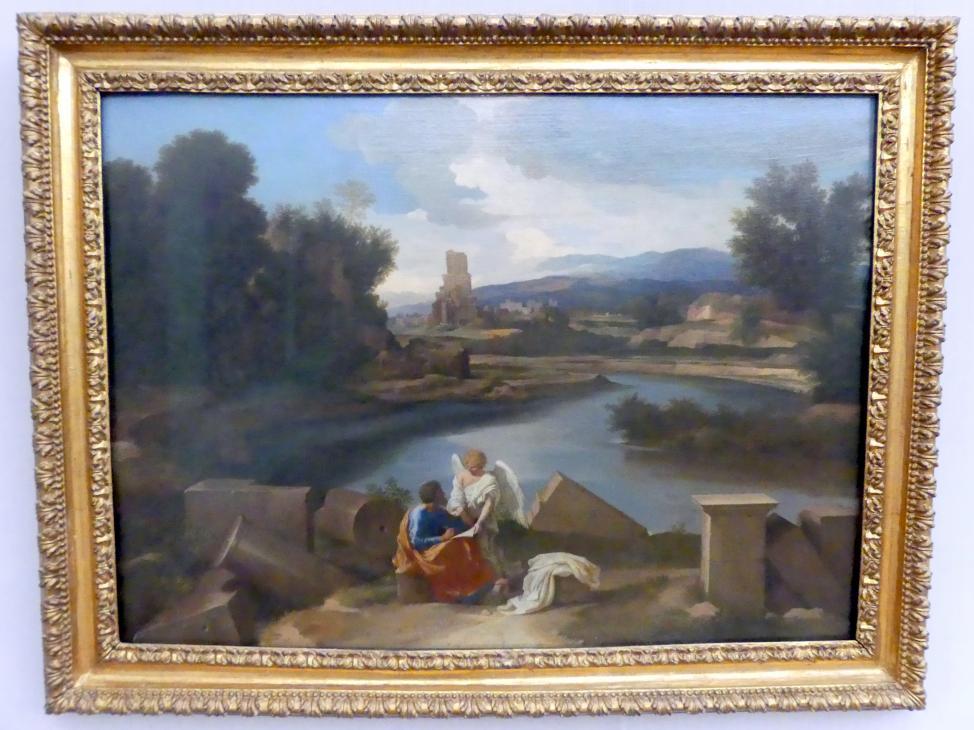 Nicolas Poussin: Landschaft aus der römischen Campagna mit Matthäus und dem Engel, 1639 - 1640
