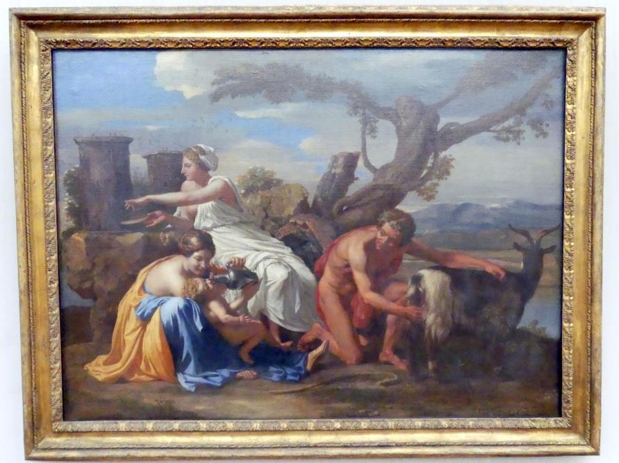 Nicolas Poussin: Jupiter als Kind, von der Ziege Amalthea genährt, um 1639