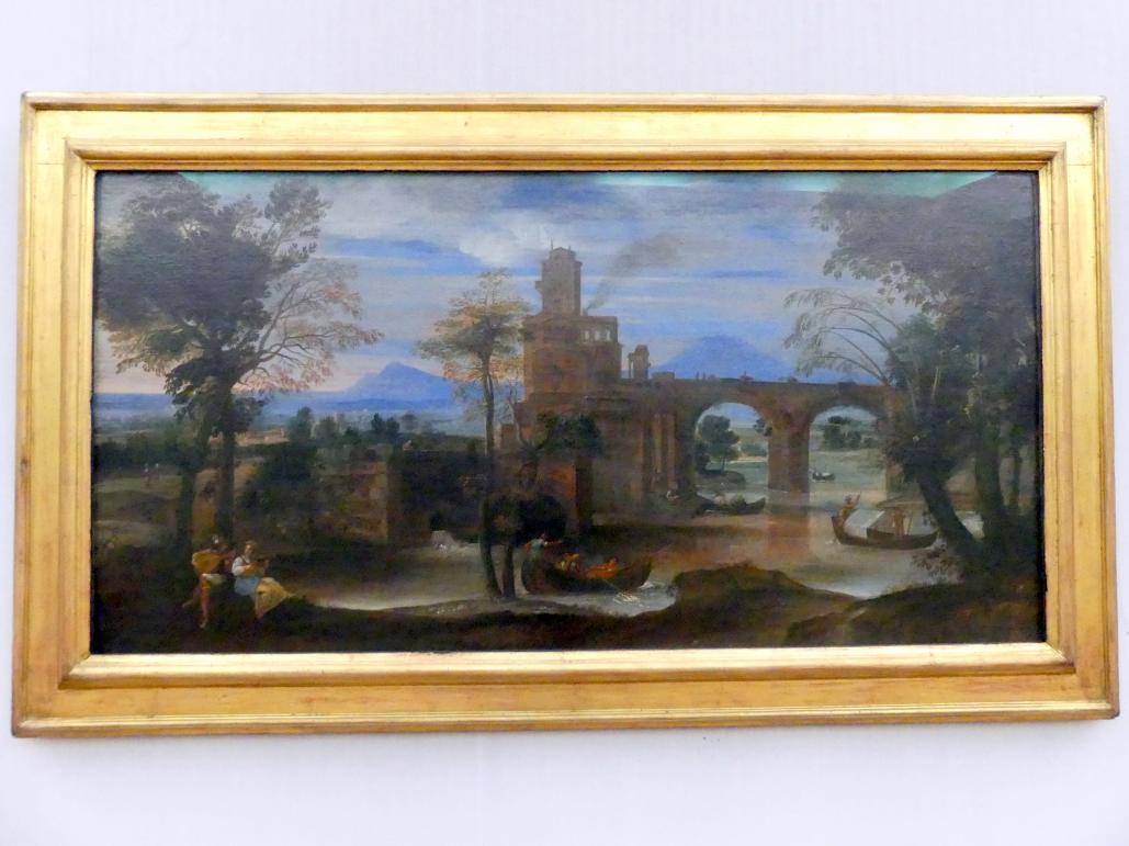 Annibale Carracci: Römische Flusslandschaft mit Kastell und Brücke, Um 1600