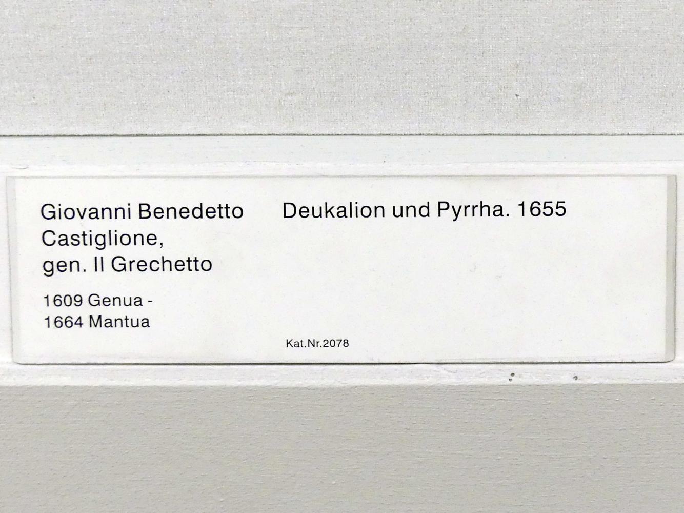 Giovanni Benedetto Castiglione (il Grechetto): Deukalion und Pyrrha, 1655