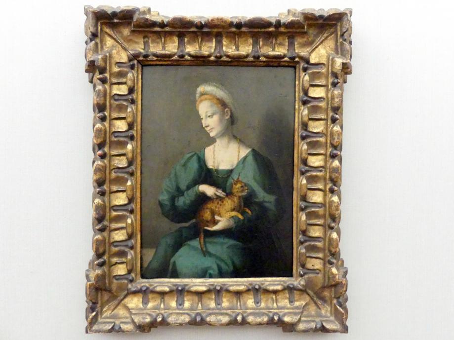 Francesco Ubertini (Bachiacca): Bildnis einer Frau mit Pantherkatze, Undatiert