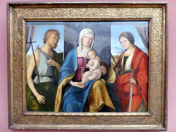 Boccaccio Boccaccino: Thronende Maria mit dem Kind und den hll. Johannes d.T. und Katharina von Alexandrien, um 1504 - 1505